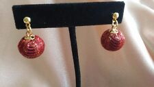 Hand-Made Gold-Plated Red Fabric Glitter Ball Dangle Post Earrings
