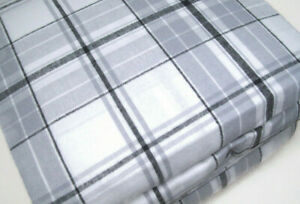 Flannel From Portugal Multi Colors Gray Window Pane Plaid Cotton Full Sheet Set