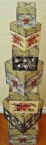 NEW Bob's Boxes (Christmas Wildflowers) 7 Piece Gift Nesting Boxes