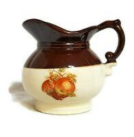 "Vintage McCoy Pottery Pitcher Apple Goose Berry Design Brown Tan 7528 USA 5.5"""