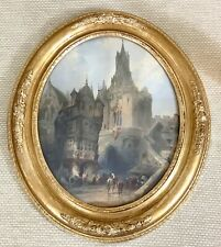 Antique French Watercolour Painting Framed Fecamp Normandy France Oval Frame