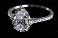 1 1/2Ct F/S1 Pear Brilliant Cut Diamond Halo Engagement Ring 14k White Gold