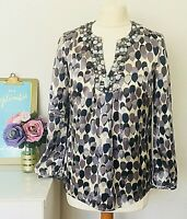 BODEN LIMITED EDITION Top Size UK 6 CREAM BLUE | 100% SILK Jewelled Blouse Party