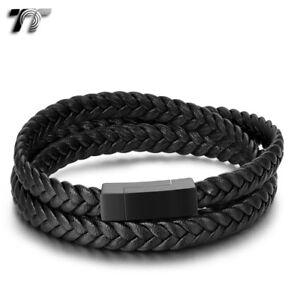 TT Tri Row Black Leather 316L S.Steel Magnet Buckle Bracelet (BR211D) NEW