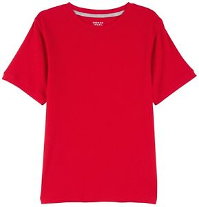 FRENCH TOAST BOYS HEATHER RED BASIC S/S 2X2 RIB TEE SIZE LARGE 10/12 NEW NWT