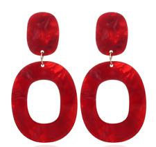 Women Boho Statement Acrylic Hollow Geometric Big Circle Drop Dangle Earrings