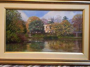 ENGLISH LANDSCAPE AUTUMN LAKE BOURNE HALL CHURCH OIL PAINTING Linda Wallis