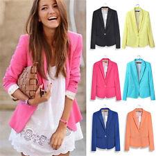 Women Girl Work Office Long Sleeve Collared Blazer Suit Jacket Coat Outwear Top