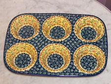 Polish Pottery UNIKAT Muffin Pan! Mama Rose Pattern!