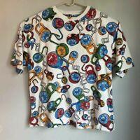 Vtg Raw Blue Y2K 2000s Streetwear Mens Graphic T-Shirt All Over Print Lock3XL