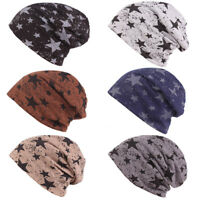 Men's Fashion Stars Print Cotton Slouchy Beanie Hat Casual Ski Oversized Cap