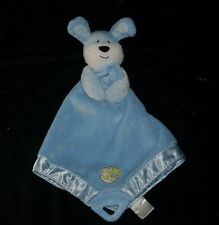 PRESTIGE BABY BLUE PUPPY DOG SECURITY BLANKET TEETHER STUFFED ANIMAL PLUSH TOY