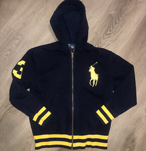 Polo Ralph Lauren Kids Full Zip Up HUGE LOGO Blue Jacket Hoodie Size Small (8)