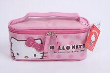 Pink Hello Kitty Cosmetics Makeup Pouch Bag Case Handbag Handle Rectangle Travel