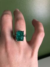 Estate Sterling Silver Natural Emerald Over 3CT Ring Sz 6