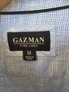 GAZ MAN Men's Size M 100% Linen Blue Micro Check Long Sleeve Button Up Shirt