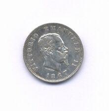 ITALY KINGDOM VITTORIO EMANUELE II  1867-M-BN  1 LIRA SILVER COIN, XF/AU