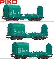 Piko H0 58963-S Offener Schiebeplanenwagen der Mercitalia (3 Stück) - NEU + OVP