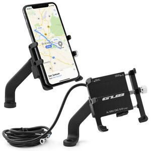 Motorrad Halterung Rückspiegel Handy Halter Bike Smartphone Roller Alu USB-Buchs