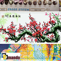 "New Stamped Cross Stitch Kit ""Red Plum Blossom"" 15""x31.5"" printed design"