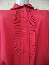 Vintage Victorian Style BLOUSE High Peter Pan  Collar Pleated Ascot Brick Red M