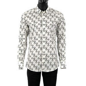 DOLCE & GABBANA GOLD Slim Fit Shirt with Horseshoe Print White Black 08513