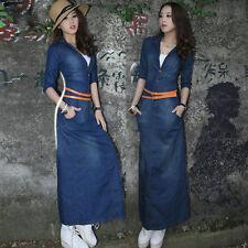 Korean Women's Summer Denim Dress Long Slim Fit Casual Jean Dresses Belt