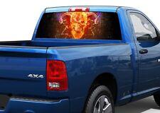 Skull Devil in flame head Rear Window Decal Sticker Pickup Truck SUV Car
