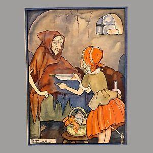 1930er Antiker Druck Kinderbuch Bild Alt 22cm BESCHÄDIGT Einsiedler Frau Mädchen