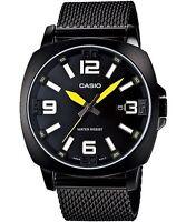Casio MTP1350BD-1A1 Mens Black Stainless Steel Mesh Band Modern Dress Watch NEW