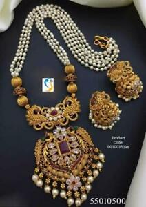 Gold Plated Indian Traditional Bollywood CZ AD New Pendent Necklace Earring shyt