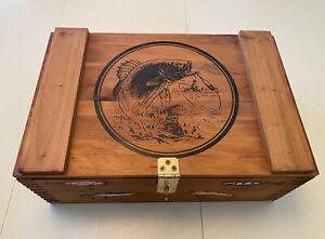 Vintage Wooden Fishing Tackle Box