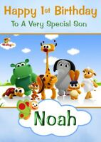 personalised Children's birthday card Baby TV any name/age/relation