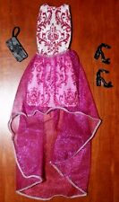BARBIE DOLL WHITE & PINK EVENING DRESS W/BLACK SHOES & HANDBAG