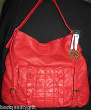 NEW RED MARC ECKO RED SOFT CHERRY FOLDED FURY BUCKET HOBO TOTE,HAND BAG