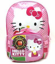 Hello Kitty Pink Polka Dots Girl's Little Girl Backpack + Detachable Lunch Bag