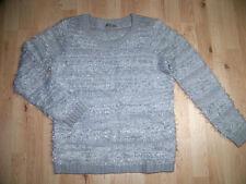 ORSAY grauer Wuschel Pullover Strick Lurex L Winter kuschlig weich TOP #24