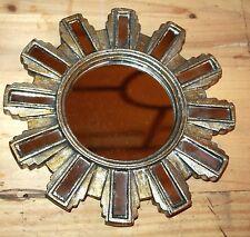 Glace / miroir soleil avec 12 barrettes en miroir Diam 24,4 cm patine argentée