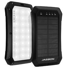 JASBON Solar Charger 10000 mAh Power Bank LED USB External Backup Battery Pack