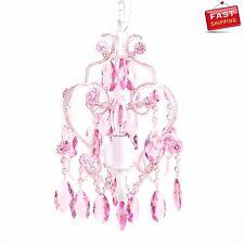 Chandelier Lamp Crystal Pink Sapphire 3 Bulb Vintage Princess Teen Girl Kid Room