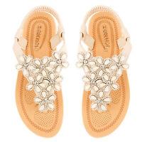 Womens Ladies Diamante Floral Flat Summer Sandals Sling Back Comfort Shoes Size