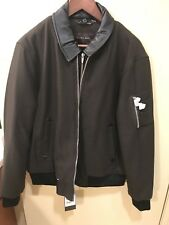 Mens XXL Zara Bomber Jacket With Faux Leather Collar & Zipper Front Was $149 NWT