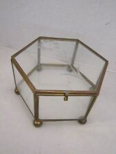 "Display Case Vintage Brass & Glass Box Hexagon Footed Jewelry Object 4.75""x 3""."