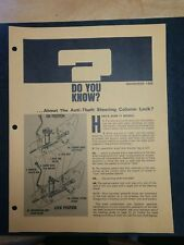 Vintage Chevrolet Salesman's Fact Sheet DYK November 1968-11-9 Chevy