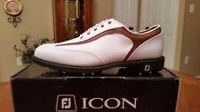 2014 Footjoy Fj Icon Mens Golf Shoes 52023 New Wh/Tan 11Wd $349 Ret Mint!