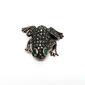 Judith Jack Sterling Silver Marcasite Frog Pin/Brooch with Green Eyes