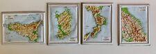 LOTTO 14 CARTINE TRIDIMENSIONALI GEOGRAFIA DE AGOSTINI 1966 ITALIA REGIONI MAPPA