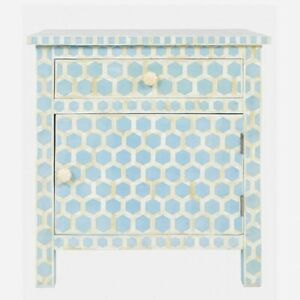 MADE TO ORDER Bone Inlay Indian Handicraft Bedside Cabinet Table Blue Honeycomb