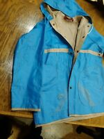 Jordache Aqua Blue Raincoat Windbreaker Size Med 1970's