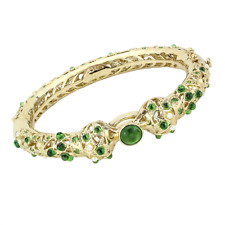 4300 BANGLE SIMULATED DIAMONDS EMERALD GREEN GOLD HINGED WOMEN SPARKLING CHUNKY